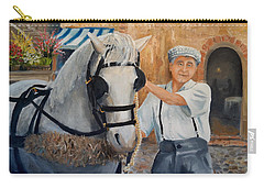 Carry-all Pouch featuring the painting Flower Cart Man by Alan Lakin