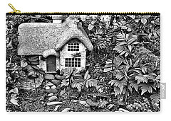 Flower Garden Cottage In Black And White Carry-all Pouch