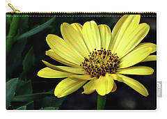Flower In Yellow Carry-all Pouch by Mikki Cucuzzo