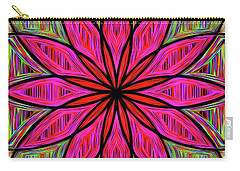 Carry-all Pouch featuring the photograph Flower On Rainbow Mandala By Kaye Menner by Kaye Menner