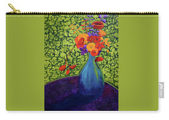 Carry-all Pouch featuring the painting Flower Power by Nancy Jolley