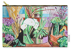 Carry-all Pouch featuring the painting Flower Shop Fantasy by Esther Newman-Cohen