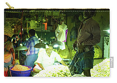 Carry-all Pouch featuring the photograph Flower Stalls Market Chennai India by Mike Reid