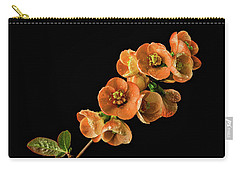 Carry-all Pouch featuring the photograph Flowering Quince Orange by Mary Jo Allen