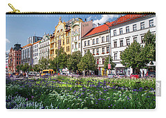 Carry-all Pouch featuring the photograph Flowering Wenceslas Square In Prague by Jenny Rainbow