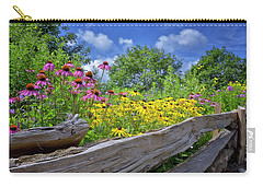 Flowers Along A Wooden Fence Carry-all Pouch