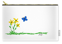 Flowers And A Butterfly Carry-all Pouch by Joseph Ogle