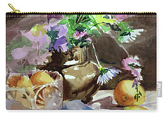 Carry-all Pouch featuring the painting Flowers And Fruit by Kris Parins