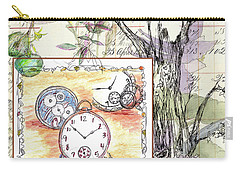 Carry-all Pouch featuring the drawing Flowers And Time by Cathie Richardson