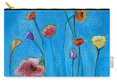Flowers Blue Background Carry-all Pouch