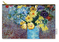 Carry-all Pouch featuring the painting Flowers In A Blue Vase  by Van Gogh