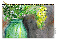 Flowers In A Green Jar- Art By Linda Woods Carry-all Pouch by Linda Woods