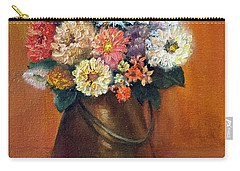 Carry-all Pouch featuring the painting Flowers In A Metal Vase  by Marlene Book