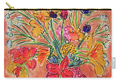 Flowers In Red Vase Carry-all Pouch by Gerhardt Isringhaus