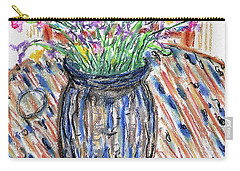 Flowers In Stripped Vase Carry-all Pouch by Gerhardt Isringhaus