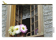 Carry-all Pouch featuring the photograph Flowers On The Sill by John Schneider