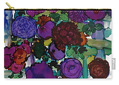 Flowers On Trellis Carry-all Pouch by Alika Kumar