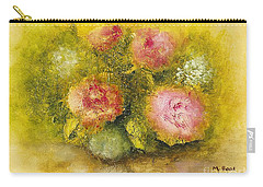 Flowers Pink Carry-all Pouch by Marlene Book