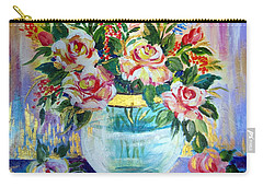Carry-all Pouch featuring the painting Flowers Still Life  by Roberto Gagliardi
