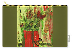 Carry-all Pouch featuring the mixed media Flowers,butteriflies, And Vase by P J Lewis
