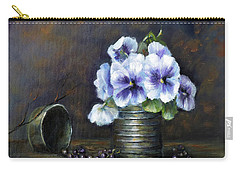 Carry-all Pouch featuring the painting Flowers,pansies Still Life by Katalin Luczay