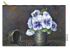 Flowers,pansies Still Life Carry-all Pouch by Luczay