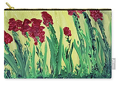 Carry-all Pouch featuring the painting Flowing Flowers by Karen Nicholson
