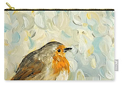 Carry-all Pouch featuring the painting Fluffy Bird In Snow by Maria Langgle