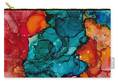 Carry-all Pouch featuring the painting Fluid Depths Alcohol Ink Abstract by Nikki Marie Smith