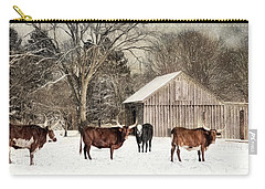Carry-all Pouch featuring the photograph Flurries On The Farm by Robin-lee Vieira