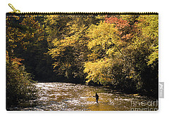 Carry-all Pouch featuring the photograph Fly Fisherman On The Tellico - D010008 by Daniel Dempster