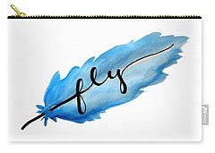 Fly Watercolor Feather Horizontal Carry-all Pouch