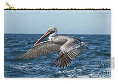 Carry-all Pouch featuring the photograph Flying Brown Pelican by Robert Bales