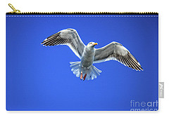 Carry-all Pouch featuring the photograph Flying Gull by Robert Bales