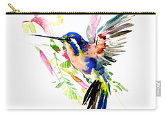 Flying Hummingbird Ltramarine Blue Peach Colors Carry-all Pouch
