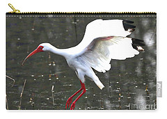 Flying Ibis Over Gray Pond Carry-all Pouch by Carol Groenen