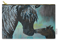 Carry-all Pouch featuring the painting Foal Kiss by Leslie Allen