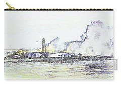 Carry-all Pouch featuring the photograph Foamy Sea At The Breakwater by Nareeta Martin
