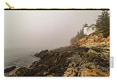 Carry-all Pouch featuring the photograph Fog At Bass Harbor Lighthouse by Jeff Folger