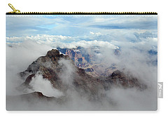Carry-all Pouch featuring the photograph Fog Shrouded Vishnu Temple  by Gaelyn Olmsted