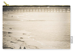 Carry-all Pouch featuring the photograph Foggy Beach Walk by T Brian Jones