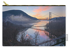 Foggy Dawn At Three Bridges Carry-all Pouch by Angelo Marcialis