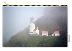 Carry-all Pouch featuring the photograph Foggy Day At The Heceta Head Lighthouse by AJ Schibig
