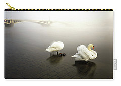 Foggy Morning View Near Bridge With Two Swans At Vltava River, Prague, Czech Republic Carry-all Pouch