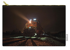 Carry-all Pouch featuring the photograph Foggy Night Train  by Aaron J Groen