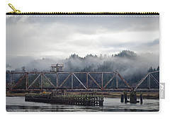 Carry-all Pouch featuring the photograph Foggy Rail Crossing by Adria Trail