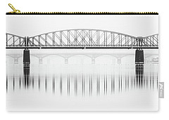 Foggy Winter Mood At Vltava River. Reflection Of Bridges In Water. Black And White Atmosphere, Prague, Czech Republic Carry-all Pouch