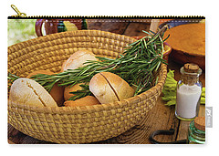 Carry-all Pouch featuring the photograph Food - Bread - Rolls And Rosemary by Mike Savad