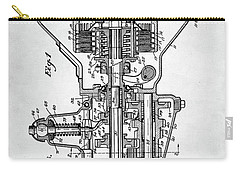 Carry-all Pouch featuring the digital art Ford Engine Patent by Taylan Apukovska