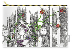 Carry-all Pouch featuring the drawing Forest Faces by Cathie Richardson